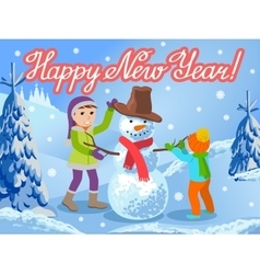 Children make a snowman greeting vector image vector image