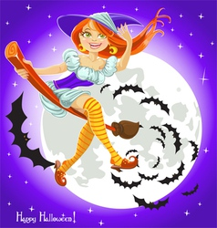 Cute young witch on a broomstick in the night sky vector image vector image
