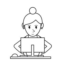 Pictogram girl using computer working vector