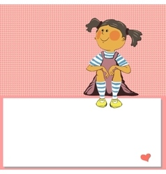 valentines day girl on a pink background vector image vector image