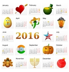 Year 2016 calendar with Holiday symbols vector image
