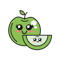 kawaii cute happy and tender apple fruit vector image