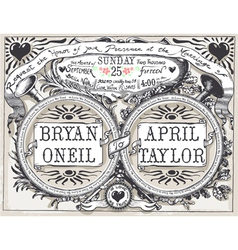 Vintage Wedding Hand Drawn Banners and Labels vector image