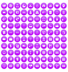 100 business group icons set purple vector image