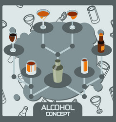 alcohol color concept isometric icons vector image