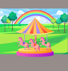 amusement park carousel with rainbow nature vector image