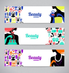 Banners with stylish beautiful shopping women vector image