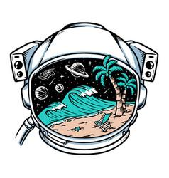 Beach view in astronaut helmet vector