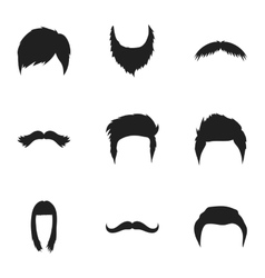Beard set icons in black style Big collection of vector