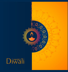 Beautiful yellow and blue happy diwali festival vector