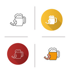 Beer mug with shrimp icon vector