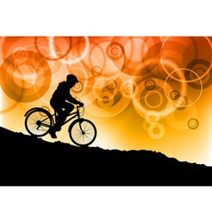 Bike by sunset vector