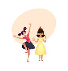 Birthday girl and her friend dancing at party vector