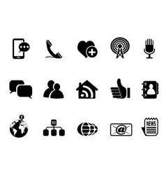 blog social media icons set vector image vector image