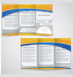 blue brochure layout design with yellow elements vector image