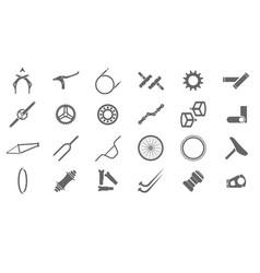 bmx parts icons for catalog or e-shop menu vector image
