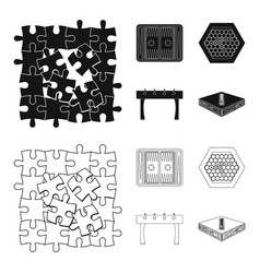 Board game blackoutline icons in set collection vector