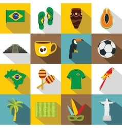 Brazil travel symbols icons set flat style vector