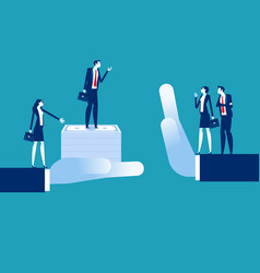 Business people with acquisitions and rejection vector