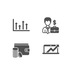 Businessman case upper arrows and payment method vector