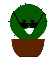 cactus with glasses on white background vector image