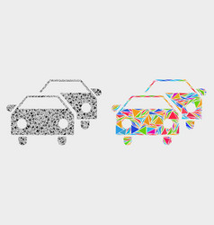 Car traffic mosaic icon triangle items vector
