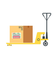 cardboard box on cart post office element vector image