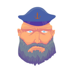 cartoon captain sailor face with beard and cap vector image