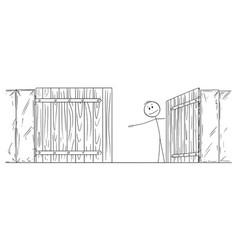 Cartoon man or businessman behind open gate vector