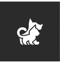 cat and dog with a negative effect on dark vector image