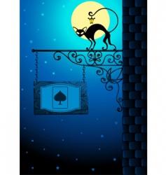 Cat in moonlight vector