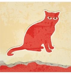 cat silhouette retro poster vector image