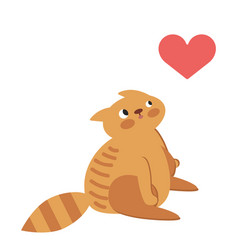 cat with heart in thought vector image