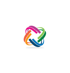 circle curve colored connect logo vector image