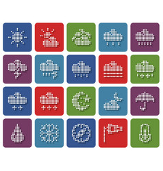 collection rounded square dotted icons weather vector image