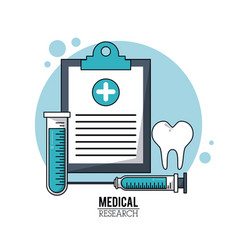 Color poster medical research with icons medical vector