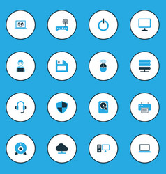 Computer colorful icons set collection of network vector