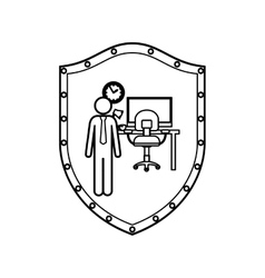 Contour shield man administrator in office vector