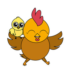 cute hen and chick vector image