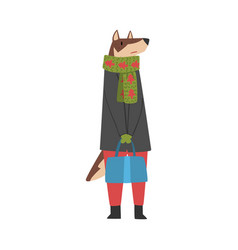 Dog wearing warm clothes female humanized forest vector