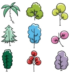 Doodle of simple tree collection vector
