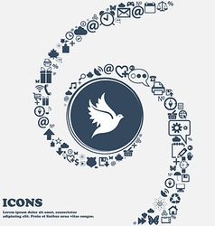 Dove icon sign in the center Around the many vector image