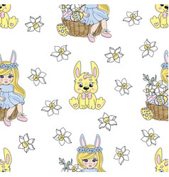 easter rabbit spring seamless vector image