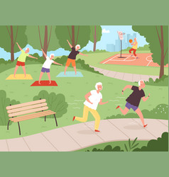 elderly park activity older people grandparents vector image
