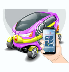 electric car phone navigation system vector image