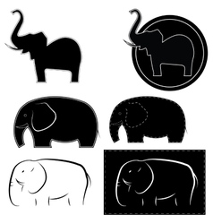 elephants in different styles vector image