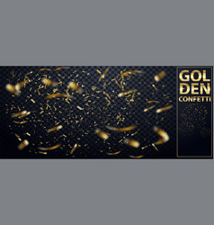 falling shiny glitter gold confetti isolated on vector image