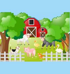 Farm animals living farmyard vector