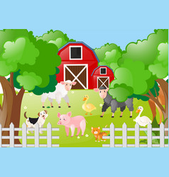 Farm animals living the farmyard vector