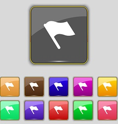 Finish start flag icon sign Set with eleven vector